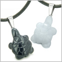 Double Lucky Turtles Love Couples or Best Friends Set Amulets Positive Energy Black Onyx White Jade Gemstones Necklaces