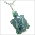 Good Luck Charm Turtle Amulet Indian Green Agate Gemstone Positive and Healing Powers Pendant on 18� Stainless Steel Necklace