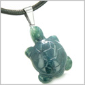 Good Luck Charm Turtle Amulet Indian Green Agate Gemstone Positive and Healing Powers Pendant on Leather Cord Necklace