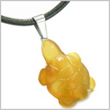 Good Luck Charm Turtle Amulet Carnelian Gemstone Protection and Healing Powers Pendant on Leather Cord Necklace