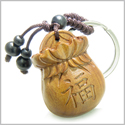 Amulet Sandal Wood Magic Money Bag and Lucky Coin Feng Shui Symbols Fortune and Protection Powers Keychain Charm Blessing