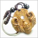 Amulet Sandal Wood Magic Bat and Feng Shui Symbols Lucky Coin Fortune and Good Luck Powers Keychain Charm Blessing