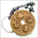 Amulet Sandal Wood Magic Lucky Coin Feng Shui Symbols with Turtle, Dragon, Bird, Puma Protection Powers Keychain Charm Blessing
