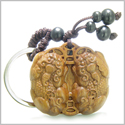 Amulet Sandal Wood Magic Double Dragons and Lucky Coins Feng Shui Symbols Wealth and Protection Powers Keychain Charm Blessing