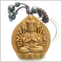 Amulet Sandal Wood Magic Kwan Yin Quan Thousand Miracles Hands Feng Shui Symbols Protection and Good Luck Powers Keychain Charm