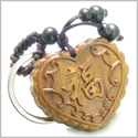 Amulet Sandal Wood Magic Fortune Lucky Heart Feng Shui Symbols Protection and Love Powers Keychain Charm Blessing