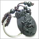 Amulet Sandal Wood Magic Lucky Dragon Feng Shui Symbol Protection and Super Natural Powers Keychain Charm Blessing