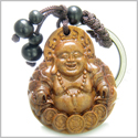 Amulet Sandal Wood Magic Laughing Happy Buddha Sitting on Lucky Coins Feng Shui Symbol Protection Powers Keychain Charm Blessing