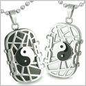 Amulets Love Couple Set Cosmic Balance Yin Yang Dog Tags Black Onyx White Cat�s Eye Positive Energies Pendants Steel Necklaces