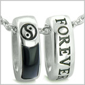 Forever Balance Love Couples Reversible Rings Set Yin Yang Amulets Black Onyx White Cats Eye Positive Energy Pendants Necklaces