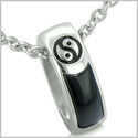 "Balance Yin Yang Double Sided Lucky Charm Ring Amulet Positive Energies Black Onyx Pendant on 18"" Stainless Steel Necklace"