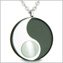 "Amulet Magic Circle Yin Yang Medallion Double Lucky Black Onyx White Cats Eye Amulet Positive Energy Pendant on 18"" Necklace"
