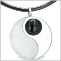 Amulet Magic Circle Yin Yang Medallion Double Lucky Black Onyx White Jade Amulet Positive Energy Pendant on Leather Necklace