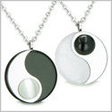 Amulets Love Couples Set Yin Yang Medallions Double Lucky Black Onyx White Jade and Cat's Eye Positive Energy Pendants Necklaces