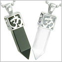 Positive Energy OM and Yin Yang Powers Love Couple Amulet Set Crystal Points Black Onyx White Cats Eye Stainless Steel Necklaces