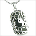 "Amulet Cosmic Balance Energy Yin Yang Dog Tag Black Onyx Good Luck Charm Spiritual Powers Pendant 18"" Stainless Steel Necklace"