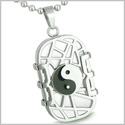 "Amulet Cosmic Balance Energy Yin Yang Dog Tag White Cats Eye Good Luck Charm Magic Powers Pendant 18"" Stainless Steel Necklace"