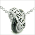 Positive Forever Eternity Double Rings Yin Yang Symbol Amulet Faceted Black Onyx Lucky Charms Pendant on 22� Steel Necklace