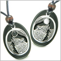 Amulets Howling Wolf and Moon Love Couples or Best Friends Set White Cat's Eye Black Onyx Yin Yang Powers Pendants Necklaces