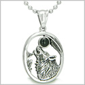 "Amulet Courage Howling Wolf and Black Onyx Moon Gemstone Lucky Charm Pure Stainless Steel Pendant on 18"" Necklace"