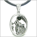 Amulet Courage Howling Wolf and Black Onyx Moon Gemstone Lucky Charm Pure Stainless Steel Pendant on Leather Necklace