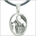 Amulet Courage Howling Wolf and Black Snow White Cat&#39s Eye Gemstone Lucky Charm Pure Stainless Steel Pendant Leather Necklace