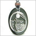 Amulet Courage Howling Wolf and Moon Charm Black Onyx White Cat&#39s Eye Gemstones Stainless Steel Pendant Adjustable Necklace