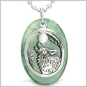 Amulet Courage Howling Wolf and Moon Charm in Green Onyx White Cat&#39s Eye Gemstones Pendant on 18� Stainless Steel Necklace