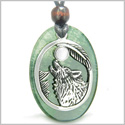 Amulet Courage Howling Wolf and Moon Charm in Green Onyx White Cats Eye Gemstones Stainless Steel Pendant Adjustable Necklace