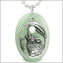 Amulet Courage Howling Wolf and Moon Charm in Green Aventurine White Cats Eye Gemstones Pendant on 22� Stainless Steel Necklace