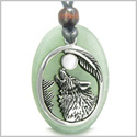 Amulet Courage Howling Wolf and Moon Charm Green Aventurine White Cats Eye Gemstones Stainless Steel Pendant Adjustable Necklace