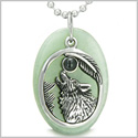 Amulet Courage Howling Wolf and Moon Lucky Charm in Green Aventurine Black Onyx Gemstones Pendant 22� Stainless Steel Necklace