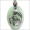 Amulet Courage Howling Wolf and Moon Charm in Green Aventurine Black Onyx Gemstone Stainless Steel Pendant Adjustable Necklace