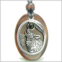 Amulet Courage Howling Wolf and Moon Charm in Red Tiger Eye and Black Onyx Gemstone Stainless Steel Pendant Adjustable Necklace