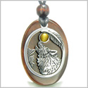 Amulet Courage Howling Wolf and Moon Charm in Red Tiger Eye and Tiger Eye Gemstones Stainless Steel Pendant Adjustable Necklace