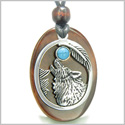 Amulet Courage Howling Wolf and Moon Charm in Red Tiger Eye and Turquoise Gemstone Stainless Steel Pendant Adjustable Necklace
