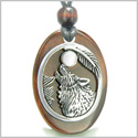 Amulet Courage Howling Wolf and Moon Charm in Red Tiger Eye White Cats Eye Gemstone Stainless Steel Pendant Adjustable Necklace