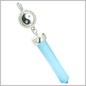 Positive Energy Balance Powers Yin Yang Amulet Crystal Point Lucky Sky Blue Cat&#39s Eye Stainless Steel Pendant