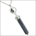 "Positive Energy Balance Powers Yin Yang Amulet Crystal Point Lucky Charm Blue Goldstone Stainless Steel Pendant on 18"" Necklace"
