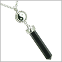 Positive Energy Balance Powers Yin Yang Amulet Crystal Point Lucky Charm Black Onyx Stainless Steel Pendant on 18� Necklace