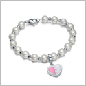 Amulet Positive Powers Simulated Pearl Snow White and Pink Heart Yin Yang Magic Energy Elegant Bracelet