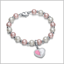 Amulet Positive Powers Simulated Pearl White and Cute Pink Heart Yin Yang Magic Energy Elegant Bracelet
