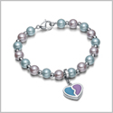Amulet Positive Powers Simulated Pearl Purple and Sky Blue Heart Yin Yang Magic Energy Elegant Bracelet