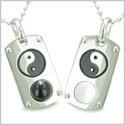 Positive Energy Yin Yang Love Couple Set Magic Amulets Dog Tags Black Onyx White Cats Eye Stainless Steel Necklaces
