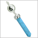 Positive Energy Balance Powers Yin Yang Amulet Crystal Point Lucky Charm Turquoise Stainless Steel Pendant