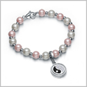 Amulet Positive Powers Simulated Pearl Cute Pink and White Yin Yang Magic Circle Energy Elegant Bracelet