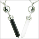 Positive Energy Yin Yang Love Couple Set Balance Amulets Crystal Points Black Onyx White Cats Eye Stainless Steel Necklaces