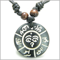 Amulet Tibetan Mantra Om Mani Padme Hum and Buddha All Seeing Eye Magic Symbols Natural Bone Magic Pendant Necklace
