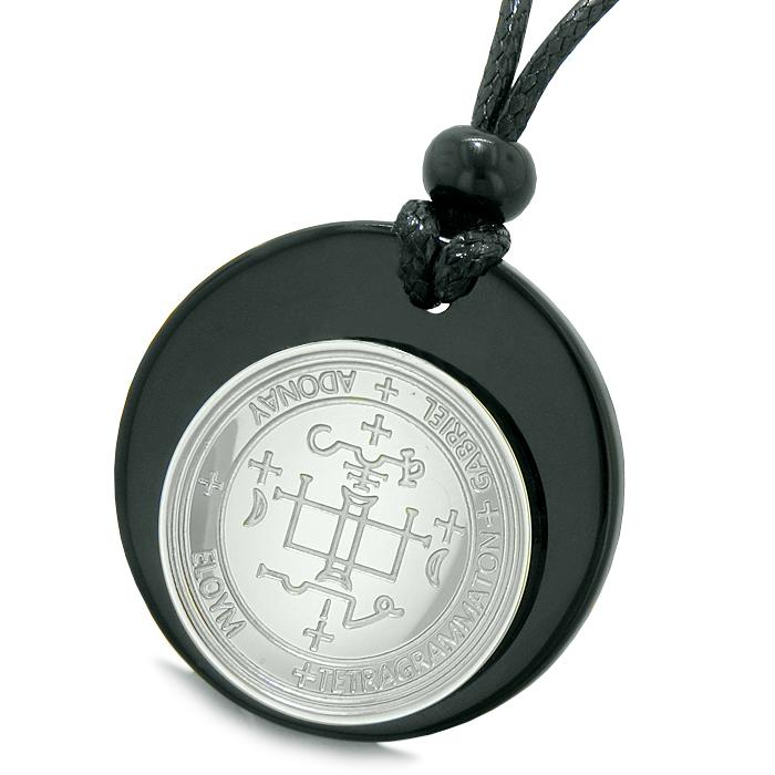 Black Agate Archangel Medallion Amulets