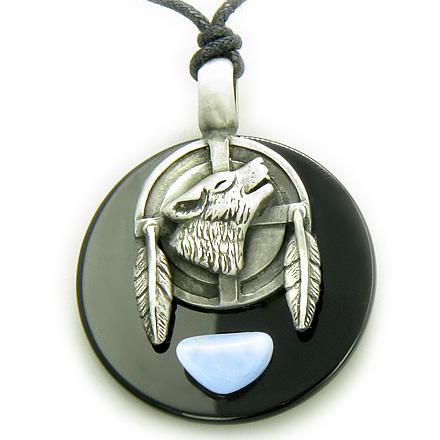 Blue Lace Agate Gemstone Medallion Amulets and Jewelry